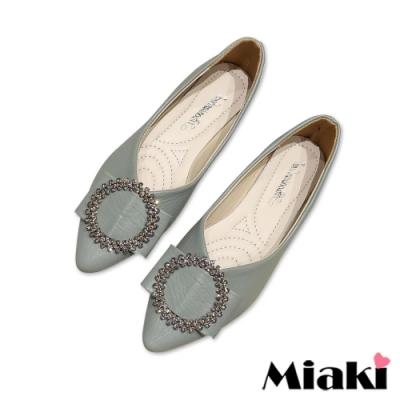 Miaki-娃娃鞋小香鑽飾低跟平底鞋-綠