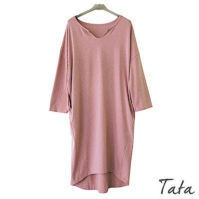 V領素面前短後長洋裝 共二色 TATA