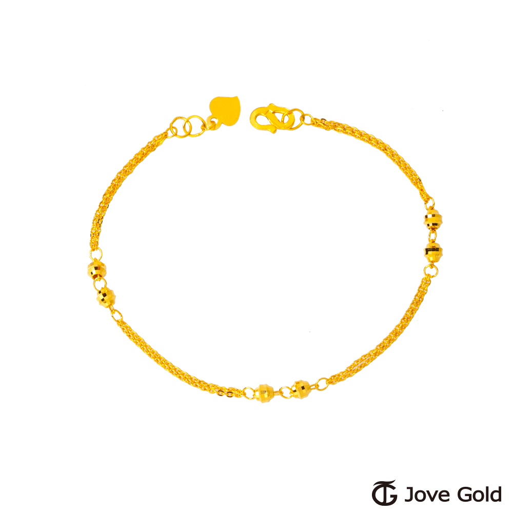 JoveGold漾金飾 波光粼粼黃金手鍊-雙鍊款