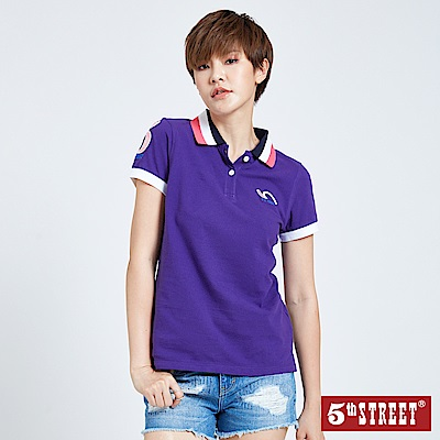 5th STREET 撞色YOKO領POLO衫-女-紫色