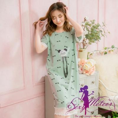 睡衣 全尺碼 小圖縷肩哺乳孕婦居家短袖連身睡衣(溫和豆綠) Sexy Meteor