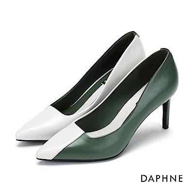達芙妮DAPHNE 高跟鞋-復古拼色優雅尖頭高跟鞋-墨綠