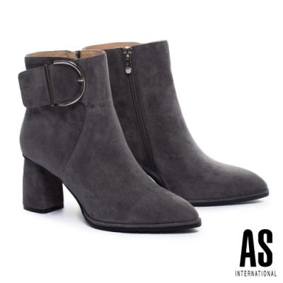 短靴 AS 復古率性全真皮尖頭高跟短靴-灰