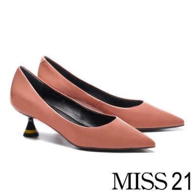 高跟鞋 MISS 21 極簡時尚液態光感尖頭高跟鞋-粉
