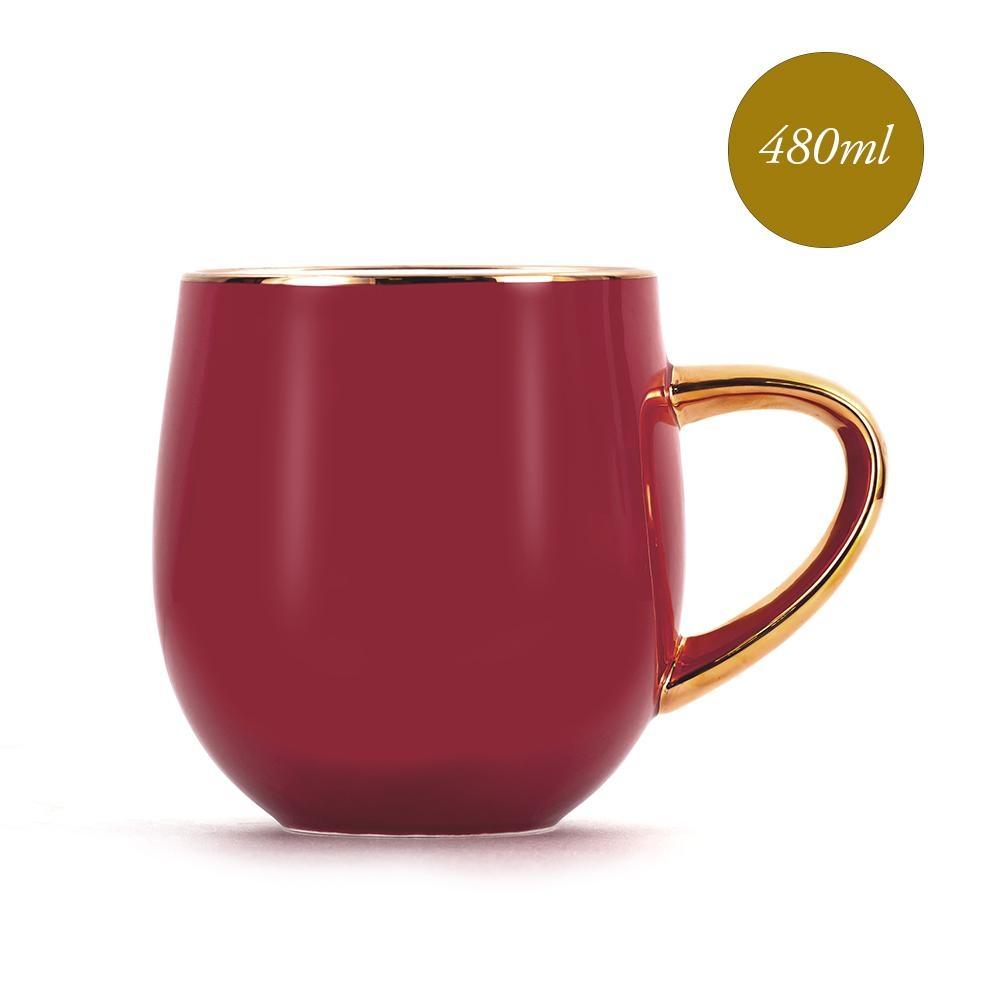Royal Duke 福氣骨瓷馬克杯/早餐杯480ml -財源滾滾(棗紅色)