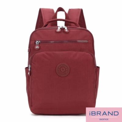 iBrand後背包 輕盈防潑水素色雙拉鍊尼龍後背包-深棗紅