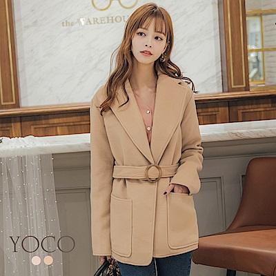 東京著衣-yoco 時髦韓國姐姐翻領綁帶西外大衣-S.M.L(共二色)