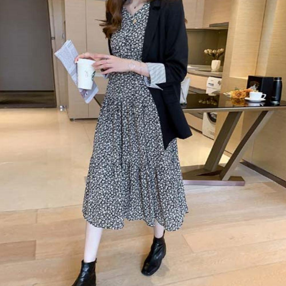 MOCO法式小百合印花半開釦縮腰層次裙擺連身洋裝XL~5XL