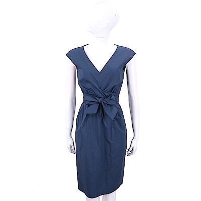 Max Mara-WEEKEND 蝴蝶結抓褶設計深藍V領洋裝