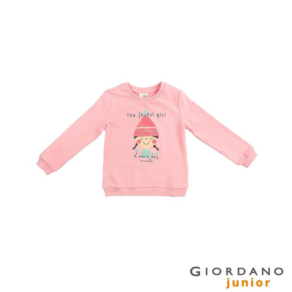 GIORDANO 童裝JOY塗鴉純棉T恤-11 石英粉紅