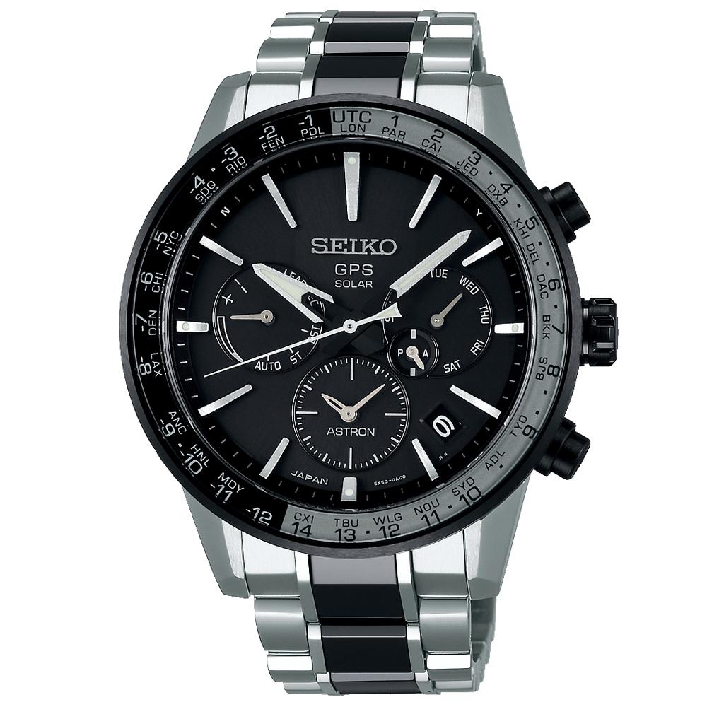 SEIKO 精工ASTRON雙時區GPS定位鈦金錶SSH011J1-黑銀/43mm @ Y!購物