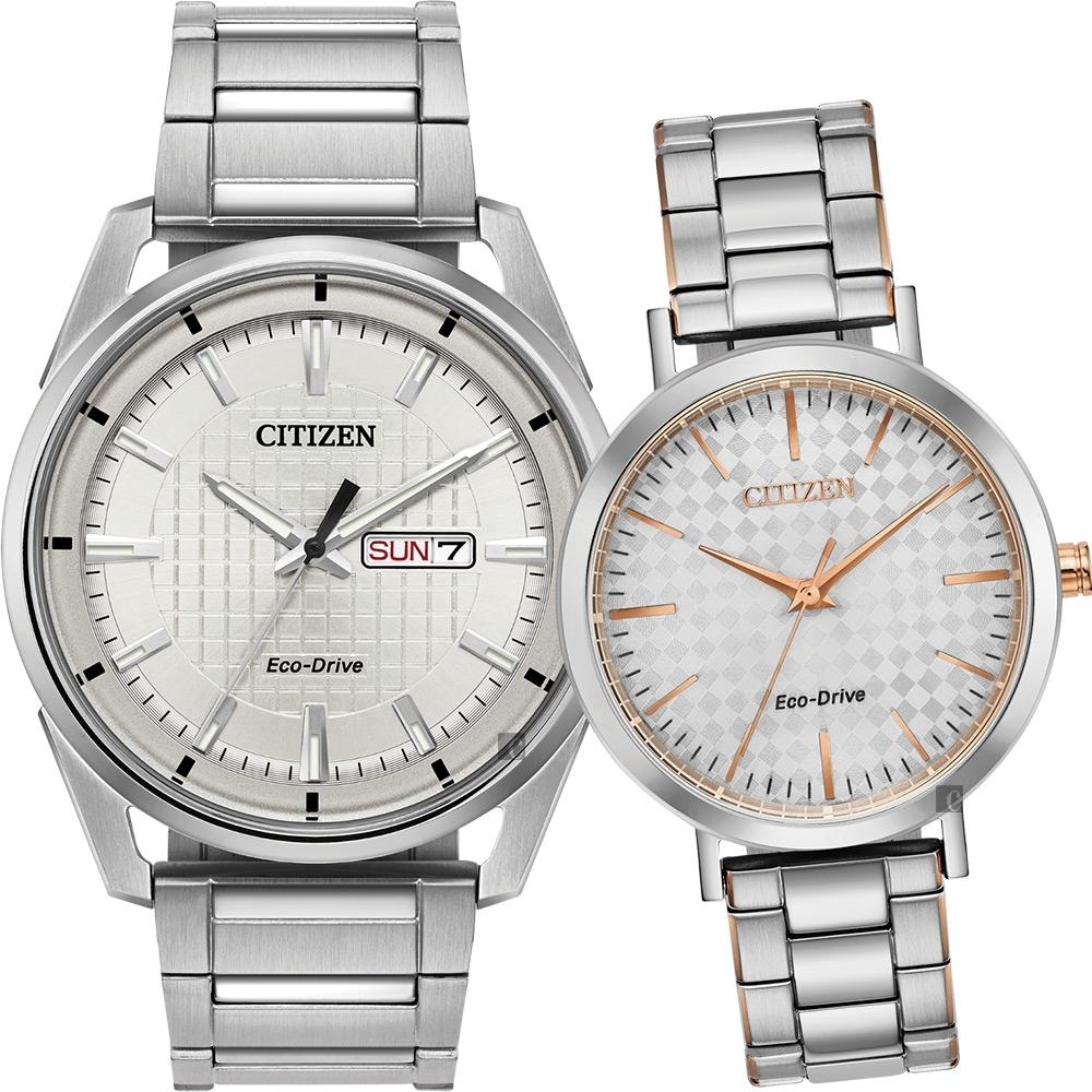 CITIZEN 星辰 光動能情侶手錶 對錶-銀(AW0080-57A+EM0766-50A)