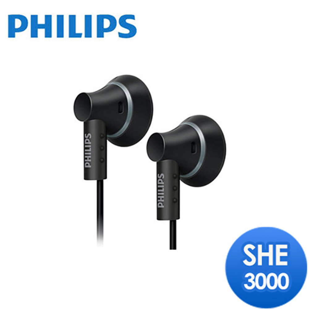 【福利品】PHILIPS 耳塞式耳機 SHE3000(黑色)