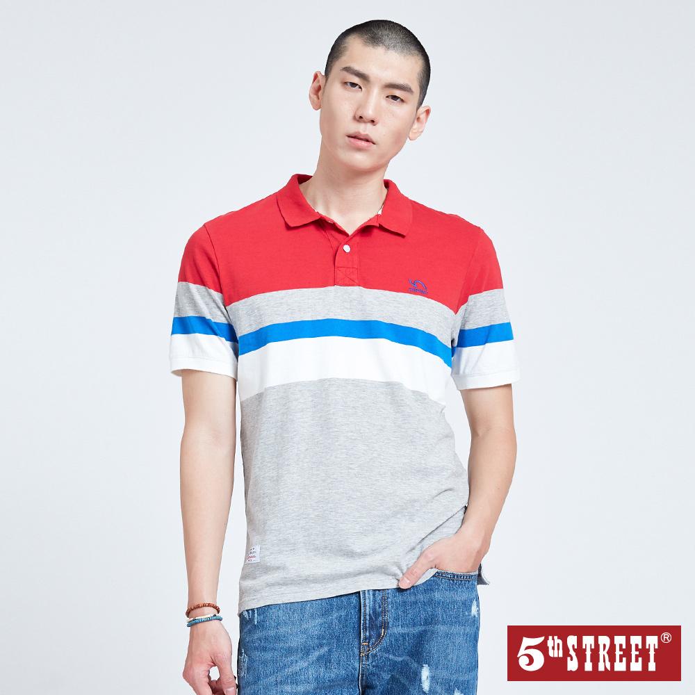5th STREET 直條撞色POLO衫-男-紅色