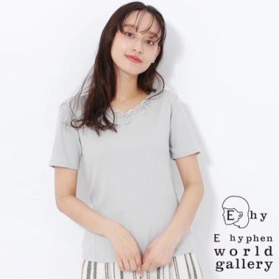 E hyphen 蕾絲拼接V領短袖T恤