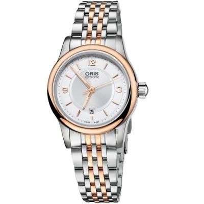 Oris豪利時 Classic Date 經典都會時尚機械女錶-銀x玫瑰金框/28.5mm