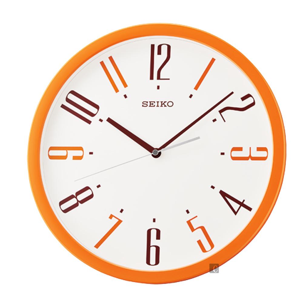 SEIKO 精工 繽紛滑動式秒針 靜音掛鐘(QXA729E)-橘框/36cm