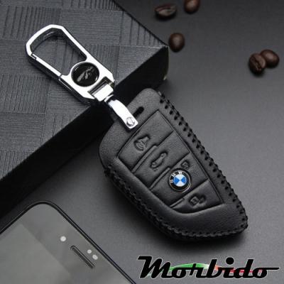 Morbido蒙彼多 BMW X1/X3/X5系列手縫真皮汽車刀鋒鑰匙套 3鍵黑