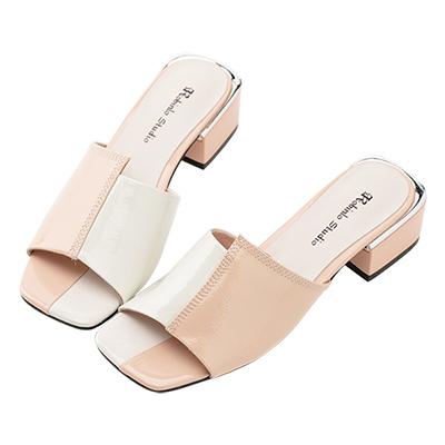 Robinlo 優雅名媛雙色方頭低跟涼拖鞋 粉色