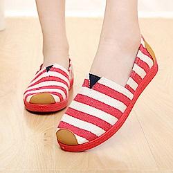 韓國KW美鞋館 春意盎然條紋好穿休閒鞋-紅色