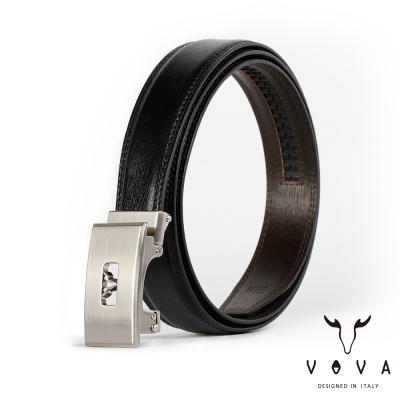 VOVA - 商務紳士鏤空造型自動扣皮帶 - 亮銀色