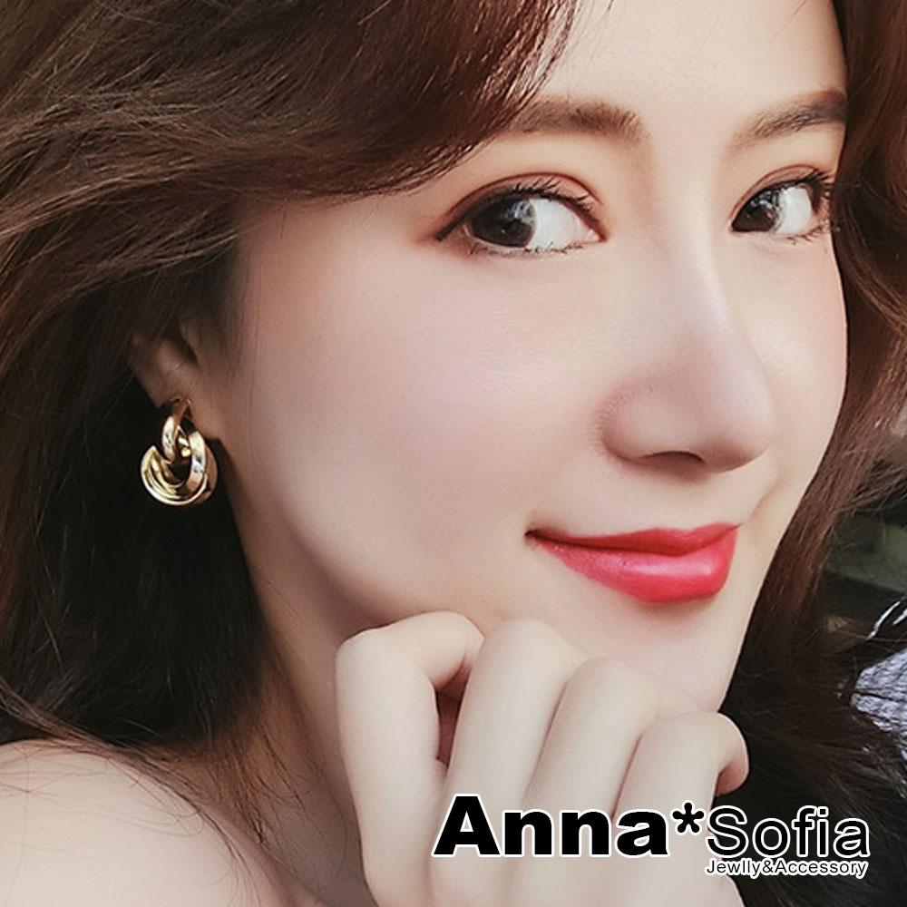【3件5折】AnnaSofia 歐美角圈旋繞 925銀針耳針耳環(金系)
