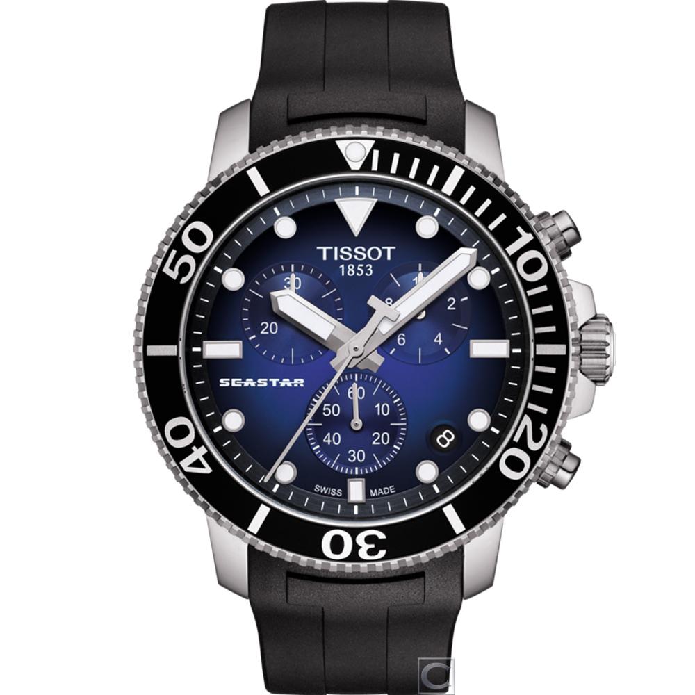 TISSOT SEASTAR 海星計時潛水錶(T1204171704100)45.5mm