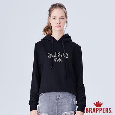 BRAPPERS 女款 美式休閒LOGO印花長袖帽T-黑