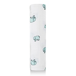 美國aden+anais輕柔新生兒包巾(1入)-藍色小象系列AA8983