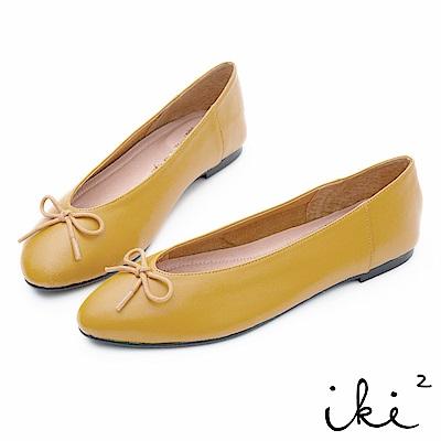 iki2 全真皮 純羊皮顯瘦蝴蝶結平底鞋-黃