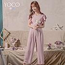 東京著衣-YOCO 輕甜溫柔V領荷葉睫毛蕾絲連身褲-S.M.L(共兩色)