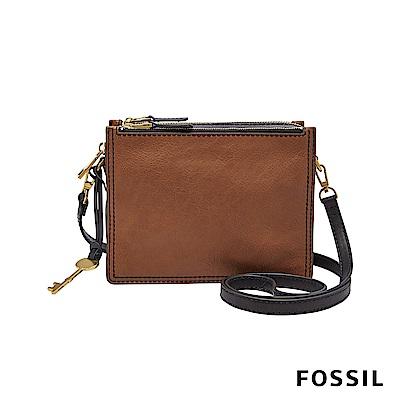 FOSSIL CAMPBELL 多夾層真皮立體小方包-咖啡色