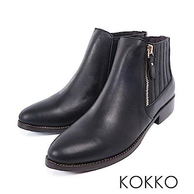 KOKKO-街頭直擊顯瘦感美腿真皮短靴-經典黑