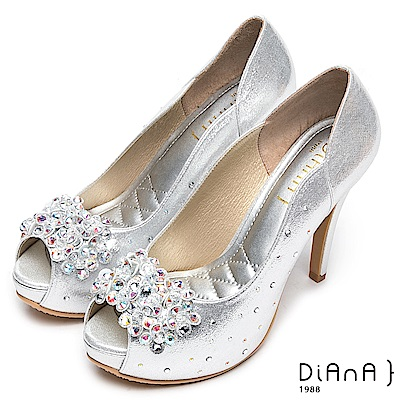 DIANA 璀璨奢華-光澤立體鑽飾魚口跟鞋-銀