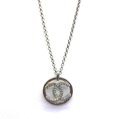 CHANEL 經典雙C LOGO水鑽墜飾項鍊(銀)