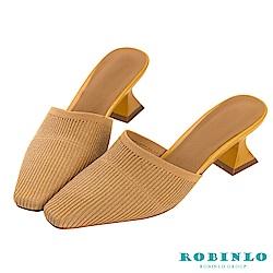 Robinlo 復古女伶金蔥閃爍低跟穆勒拖鞋 黃