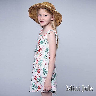 Mini Jule 童裝-洋裝 紅花綠葉綁帶細肩帶洋裝(白)