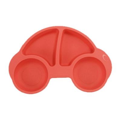 噗噗車造型矽膠防滑餐盤
