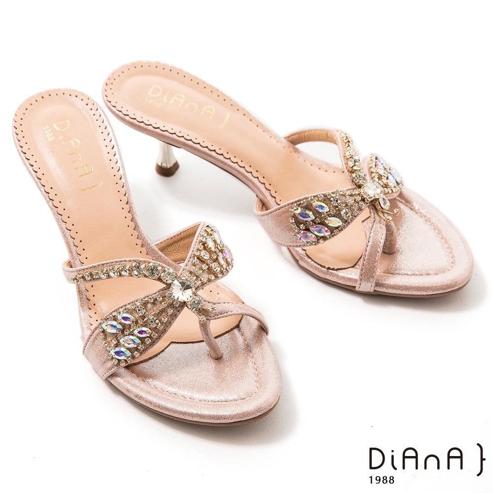 DIANA 6cm鑲鑽飾夾腳尖頭雷鍍高細跟涼拖鞋-閃耀獨特–粉金