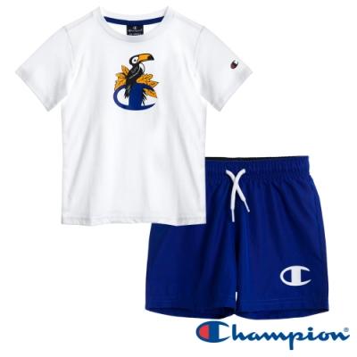 Champion EU童短袖套裝 白x寶藍