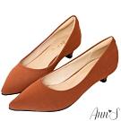 Ann'S健步如飛3.5CM霧皮沙發後跟尖頭鞋-棕
