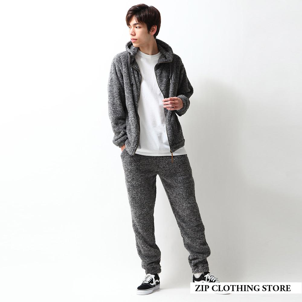 ZIP日本男裝 羊羔絨拉鍊連帽外套長褲兩件組(7色) product image 1