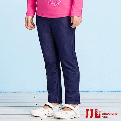 JJLKIDS 愛睡覺貓咪彈力牛仔褲(彩藍)
