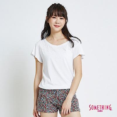 SOMETHING 繩股繡船領造型短袖T恤-女-白色
