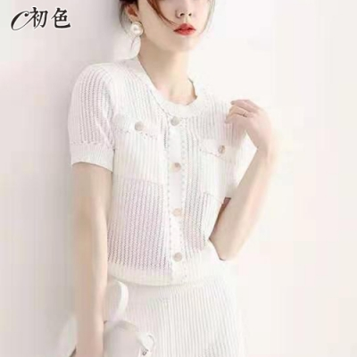 初色  優雅淑女修身針織衫-共2色-(F可選)