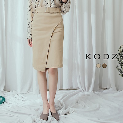 東京著衣-KODZ 個性首選釦環腰帶造型窄裙-S.M.L(共兩色)