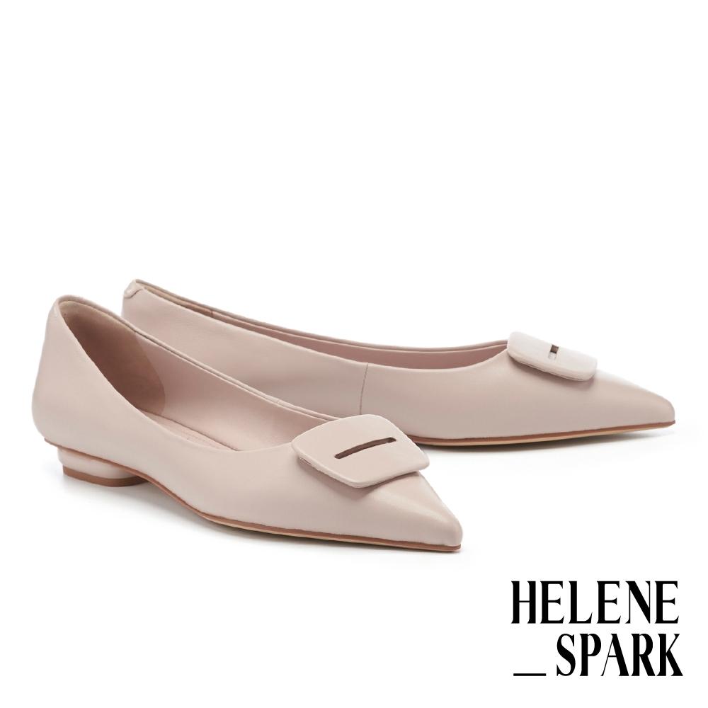 平底鞋 HELENE SPARK 簡約質感方釦全真皮尖頭平底鞋-粉