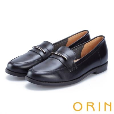 ORIN 女紳時尚 金屬飾條牛皮樂福鞋-黑色
