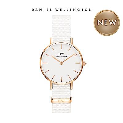 DW 手錶 官方旗艦店 28mm玫瑰金框 Classic Petite 純淨白織紋手錶