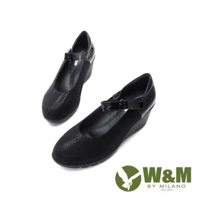W&M (女)亮面魔鬼氈增高楔型鞋 女鞋-黑